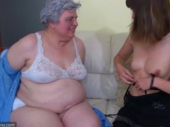 Big bbw granny playing with to young girl videos
