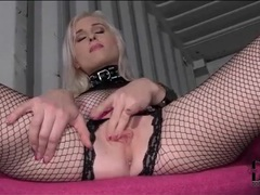 Fishnet lingerie set and latex boots on hot babe movies at freekilomovies.com