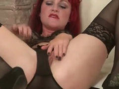 Redhead hollis ireland in black lace lingerie videos