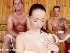 Fuckinhd - lucie wilde hot fuck with 2 guys in the sauna, Big Tits, Brunette, Hardcore, Pornstar, Threesome movies at freekiloclips.com