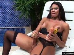 Tgirl masturbates with a banana and a thick dildo, Fetish, Masturbation, Toys, Latina, Transgender videos