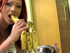 Charming redhead shedoll licks her round tits and banana too, Big Tits, Fetish, Masturbation, Latina, Red Head, Transgender tubes
