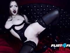 Goth goddess fucks herself in latex, Big Tits, Brunette, Fetish, Masturbation movies at freekiloclips.com