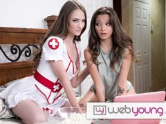 Webyoung hot babes decide to skip the halloween party to fuck while watching horror movies, Babe, Brunette, Lesbian, Pornstar, Reality, Teen (18+), Small Tits, Pussy Licking videos