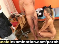 Special medical exam for young couple, Cumshot, Fetish, Handjob videos