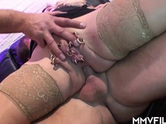Horny pierced wife loves a dp and double facial, Blowjob, Cumshot, Hardcore, Mature, Anal, Threesome, Double Penetration, German movies at find-best-panties.com