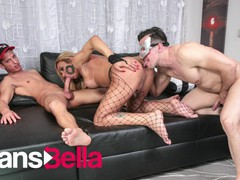 Transbella - haycka montoanelly brazilian shemale fucked in her amazing ass by two guys, Big Ass, Blowjob, Cumshot, Anal, Threesome, Transgender, Brazilian videos