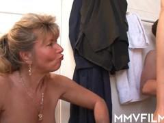 German swinger petra wegat in a bathroom threesome, Big Dick, Blowjob, Cumshot, Handjob, Hardcore, Mature, Threesome videos