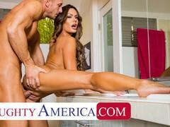 Naughty america - aila donovan fucks in the bathroom, Babe, Brunette, Blowjob, Cumshot, Handjob, Hardcore, Masturbation, Pornstar, Small Tits movies at freekilomovies.com