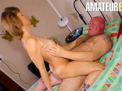 Xxx omas - amateur mature slut sucks and fucks fat guy in the bedroom, Amateur, Big Ass, Blonde, Blowjob, Cumshot, Hardcore, Mature, POV, Small Tits, German videos