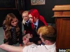 Cfnm schoolgirls cocksucking tiedup submissive, Blonde, Bondage, Brunette, Blowjob, Handjob, Red Head, School, British tubes