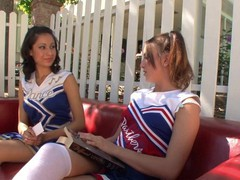 Small tits teen cheerleaders have sexytime after the practice in the garden, Big Tits, Brunette, Lesbian, Teen (18+), Pussy Licking tubes