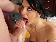 Sexy 18yo brunette wearing fishnet under clothes became wild when see cock, Amateur, Blowjob, Reality, Euro, Casting tubes