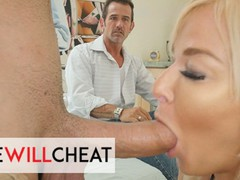 She will cheat - horny blonde milf london river fucks her hung stepson in front of his dad, Big Ass, Big Dick, Blonde, Hardcore, MILF, Pornstar, Cuckold videos