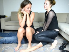 Two goddesses trampling, foot and face sitting slave (foot domination, femdom, facesitting, feet), Brunette, Hardcore, Role Play, Feet, Czech movies