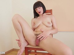 Alina strips off her dress to finger and rub her hairy pussy, Babe, Big Tits, Fetish, Masturbation, 60FPS tubes