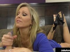 Femdom milf ms. julia ann tells hubby when to shoot load!, Big Dick, Big Tits, Blonde, Handjob, Mature, MILF, Pornstar tubes