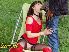 Slutty french wife waiting for her black neighbor to fuck her outside, Brunette, Hardcore, Public, Interracial, MILF, Anal, French tubes