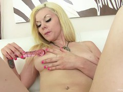 Lonely blonde with big boobs plays with her glass dildo, Amateur, Big Tits, Blonde, Masturbation, Toys movies at nastyadult.info