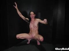 Skinny milf eats strangers cocks in gloryhole, Brunette, Blowjob, Cumshot, Handjob, MILF, Pornstar, Small Tits, 60FPS movies