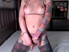 Sexy russian shemale eva lynx masturbates in sweet lingerie and stockings on cam, Amateur, Big Tits, Blonde, Handjob, Masturbation, Webcam, Transgender, Verified Amateurs movies at freekilosex.com