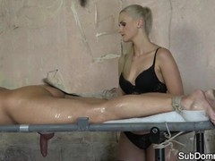 Femdom mistress massaging and flogging sub, Blonde, Cumshot, Fetish, Handjob, Massage tubes