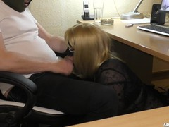 Slutwife swallows multiple loads at the office, Amateur, Blonde, Blowjob, Cumshot, MILF, Gangbang, Role Play tubes