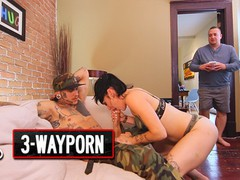 3 way porn - inked couple fucks fat dude in nasty 3some, Big Dick, Brunette, Cumshot, MILF, Small Tits, Threesome movies