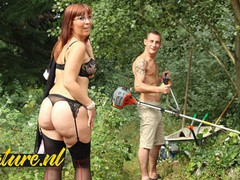 Horny wife cant wait for her husband to come home so she fucks the gardener instead, Creampie, Hardcore, Public, Mature, MILF, Red Head, French, Old/Young movies at freekilomovies.com