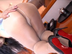 Sexy tgirl alina teasing in shiny nude pantyhose, Asian, Brunette, MILF, Small Tits, Transgender, Verified Models movies