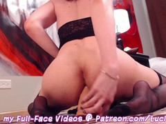 Ts lucia maya in sexy black lingerie & nylon stockings fucks her ass with a vibrating dildo & cums, Amateur, Cumshot, Masturbation, Anal, Transgender, 60FPS, Verified Amateurs movies
