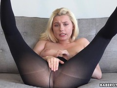 Solo blonde, carolina sweets is wearing nylons, in 4k, Babe, Blonde, Toys, Pornstar tubes