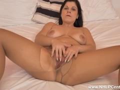 Buxom brunette belisa masturbates with dildo toy in ripped nylon pantyhose, Big Ass, Babe, Big Tits, Brunette, Fetish, Masturbation, Toys, British tubes
