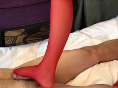 Japanese foot job red stocking(side cam), Bukkake, POV, Feet, Japanese, Verified Amateurs movies at freekiloclips.com