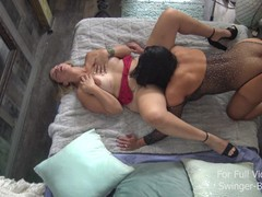 Busty swinger milfs licking and toying each others wet pussies, Amateur, Blonde, Brunette, Lesbian, MILF movies
