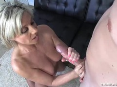 Milf strokes young cock to get her car keys, Blonde, Cumshot, Handjob, Mature, Old/Young tubes