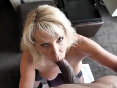 Cheating wife bianca jaguar sucks black cock and takes huge load on her big tits, Big Tits, Blowjob, Ebony, Interracial, Mature, MILF, POV movies at freekilosex.com