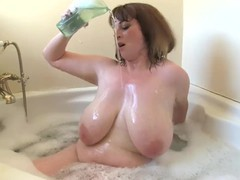 British bbw mia wallace soaping up her huge boobs, Big Tits, Brunette, MILF movies