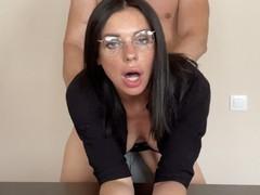 Busty secretary fucks her boss at work, Brunette, Blowjob, Cumshot, Hardcore, MILF, POV, Rough Sex, 60FPS, Exclusive, Verified Amateurs movies at find-best-ass.com