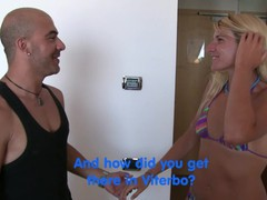 Beautiful blonde girl with very nasty long hair is about to do her first porn scene, Amateur, Blonde, Blowjob, Cumshot, Pornstar, Teen (18+), Small Tits, Casting, Italian movies at kilomatures.com