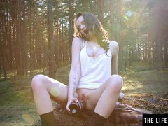 Horny brunette fucks her pussy with a wine bottle in the woods, Babe, Brunette, Fetish, Masturbation, Public, Teen (18+) movies