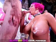 Blow me pov -a nasty milf with giant tits and 11 guys in huge blowbang bukk, Big Tits, Blowjob, Bukkake, Cumshot, MILF, Gangbang tubes