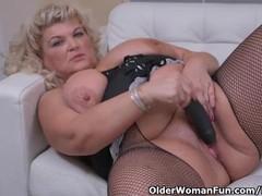 Euro gilf renatte pleasures her plump pussy with a dildo, BBW, Big Tits, Blonde, Masturbation, Toys, Mature, Striptease tubes