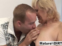 Old grandma loves getting pounded on the couch, Big Ass, Blowjob, Cumshot, Hardcore, Mature tubes