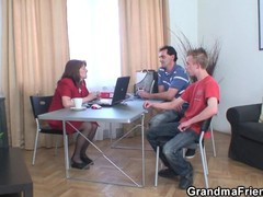 Very old granny threesome sex in the office, Mature, Reality, Threesome, Czech, Old/Young tubes