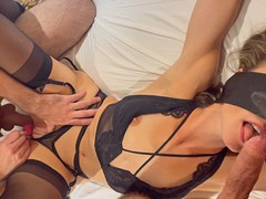 Friends share tied & blindfolded wife / husband films creampie and cums on her pussy / female orgasm, Cumshot, Handjob, Masturbation, POV, Threesome, Exclusive, Verified Amateurs movies