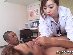 Japanese doctor gets frisky stroking his cock videos