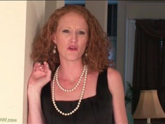 Skinny redhead milf strips off her little black dress videos