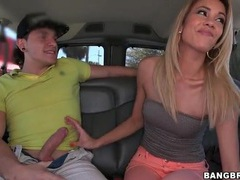 Skinny chick in tube top sucks dick in the car videos