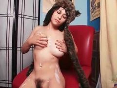 Hairy cunt girl in a fuzzy cap masturbates solo movies at sgirls.net